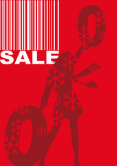 red decorative winter sales banner