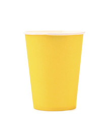 Pile of yellow paper coffee cup.