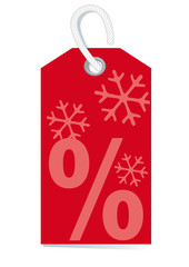 sales label with percentage sign and snow in deep red