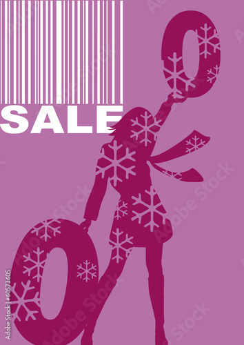 woman with percentage sign, winter sale, barcode