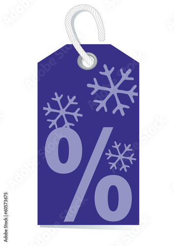 sales label with percentage sign and snow in deep violet