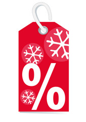 red price label with percentage sign and snow
