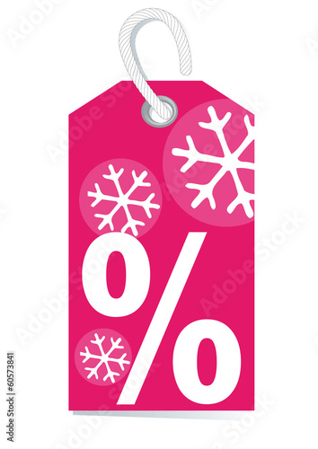 Pink tag with percentage sign for winter sale