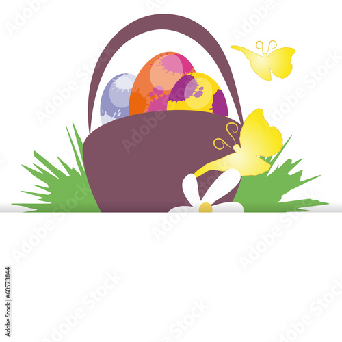 easter basket, butterflies,vektor,isolated