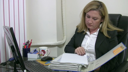 Busy businesswoman working
