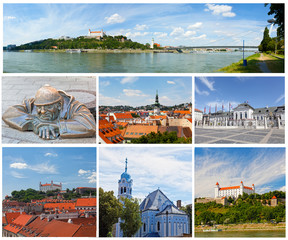 Set of photos with types of sights of Bratislava, Slovakia