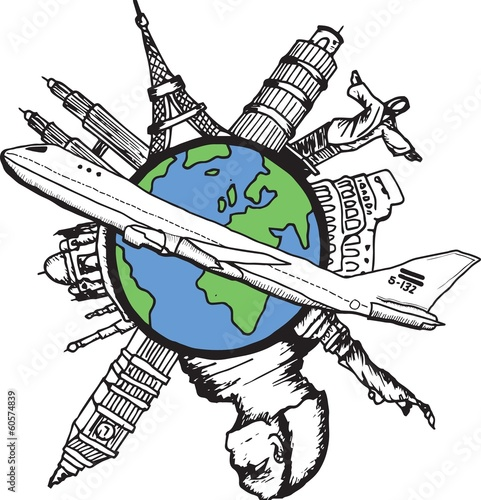 Aviation and travel doodle