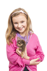 Mädchen, Kind, Chihuahua, Hundebaby, Welpe, sitzt, isoliert