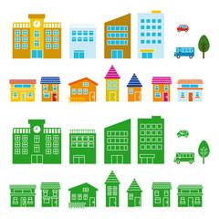 建物とシルエット