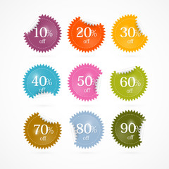 Colorful Vector Discount Stickers, Labels