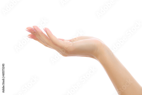 Female hand on white background