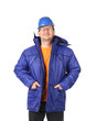 Man in winter workwear and hard hat.