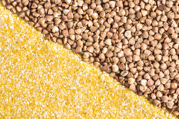 Corn grits and buckwheat background