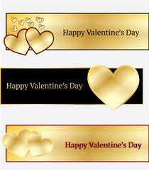 Golden Heart Valentine's Banners