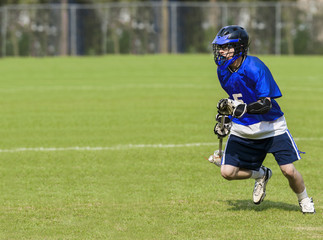 Male Lacrosse player with copy space