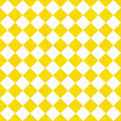Yellow and White Diagonal Checkers on Textured Fabric Background