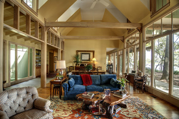 room with large windows and vaulted ceiling
