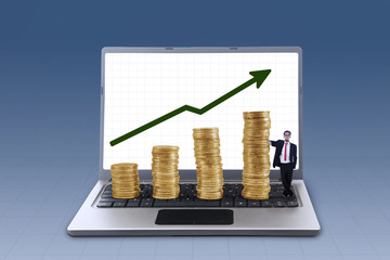 Business manager and profit growth coins chart