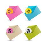 E-mail, Email Icons, Four Envelope sets