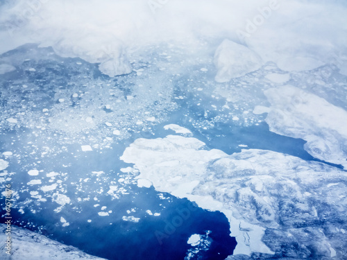 aerial view of pack ice