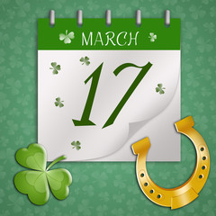Horseshoe with clover for St. Patrick's Day