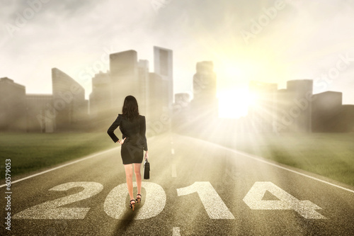 Businesswoman walking for the future