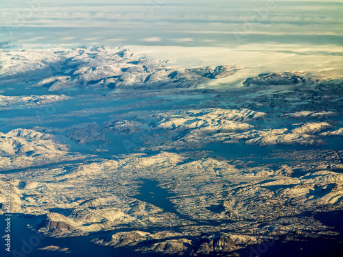 aerial view of greenland ice sheet
