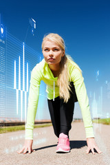 concentrated woman doing running outdoors