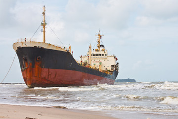 Oil Tanker Ship on the beach
