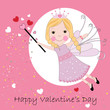 Happy valentine`s day greeting card fairy vector