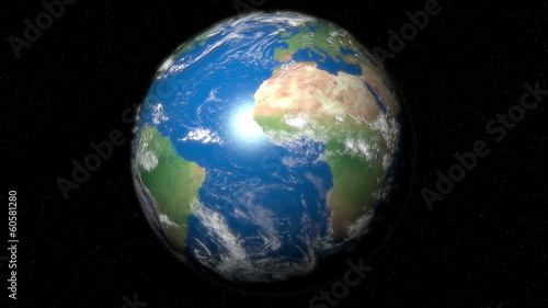 High Quality render of Earth by day and night.