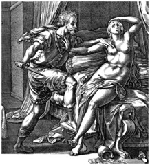 "Ancient Rome : ""Lucrece raped"" (engraving 16th century)"