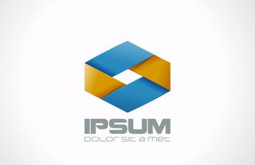 Logo Business ribbon rhombus abstract vector design