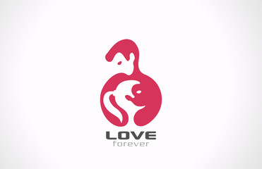 Logo Couple in Love. Valentines day! Yin Yang icon.