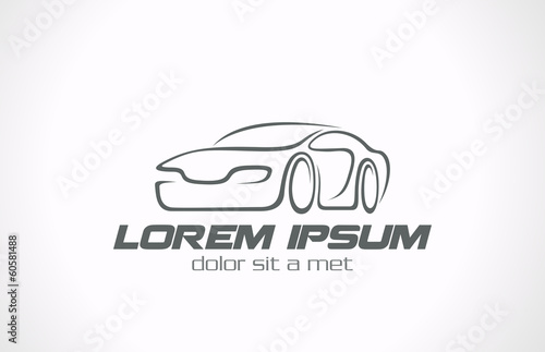 Logo Car abstract lines vector icon design concept. Auto Race