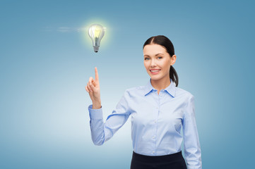 woman working with imaginary virtual screen