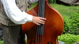 Folk artist in national cloth hand fingers play with contrabass