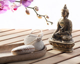 zen still-life for exfoliation and wellness poster