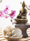 loofah and exfoliating stone with Buddha and sensual orchids poster