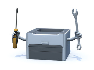laser printer with arms and tools on hands