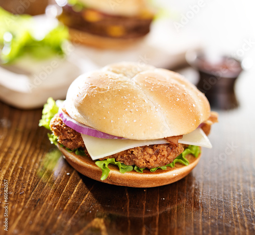 crispy chicken sandwich with bacon