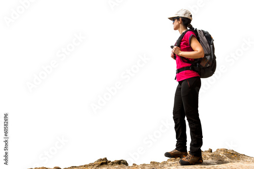 Female hiker with backpack isolated.