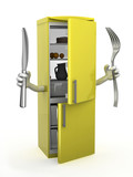 refrigerator with arms, fork and knife on hands