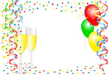 Party Hintergrund mit Konfetti und Luftballons