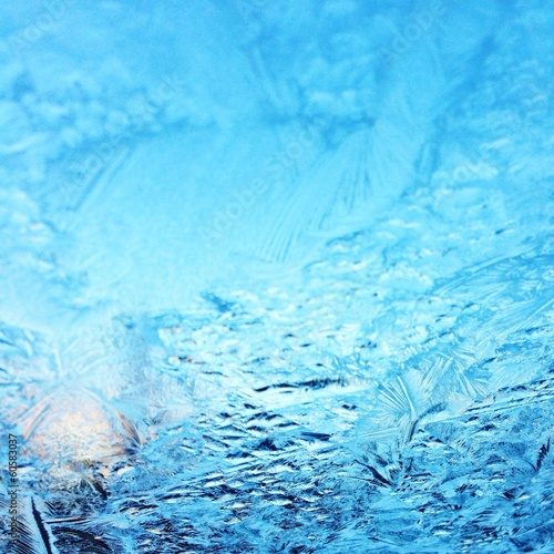 Frost ice on window
