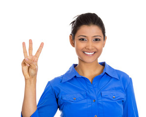 Business woman giving a three fingers sign gesture
