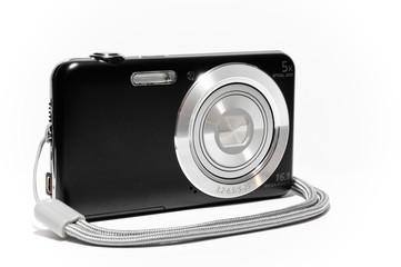 Fotocamera compatta di lato con laccetto