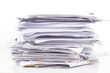 Leinwanddruck Bild - Piled up office work papers
