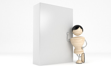 Abstract man holding a box