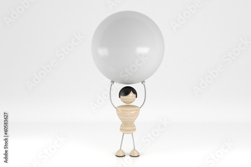 Abstract man holding a ball